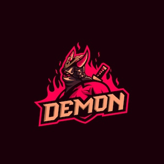 Demon premium logo van samurai
