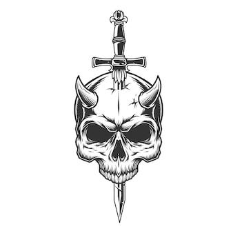Demon schedel doorboord met mes