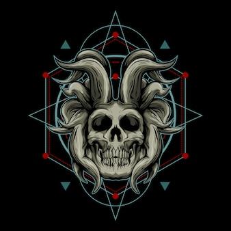 Demon schedel en heilige geometrie