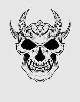 Demon schedel hoofd illustratie