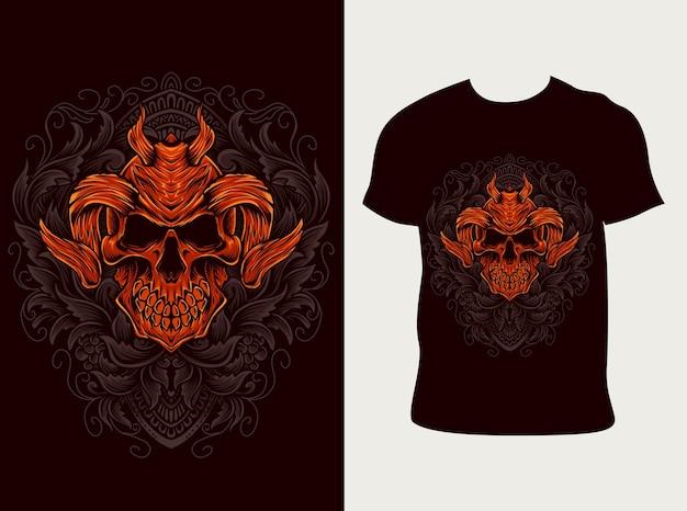 Demon schedel ornamentstijl met t-shirtontwerp