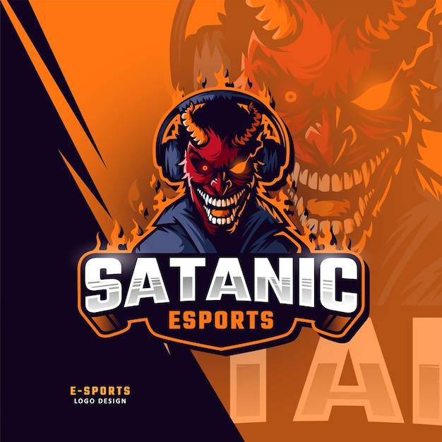 Demonen esport mascotte logo ontwerp
