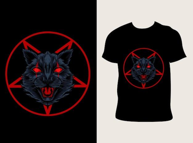 Demonische kat hoofd illustratie