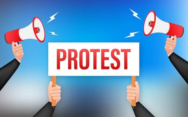 Demonstranten handen met protestborden. vector voorraad illustratie.