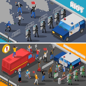 Demonstratie protest riot isometric banners