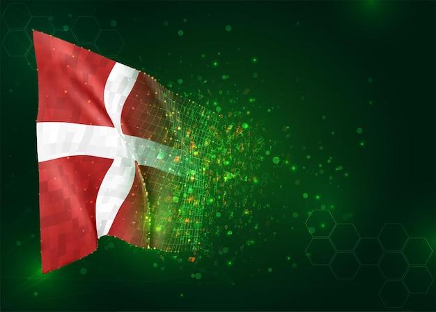 Denemarken, 3d vlag op groene achtergrond met polygonengon