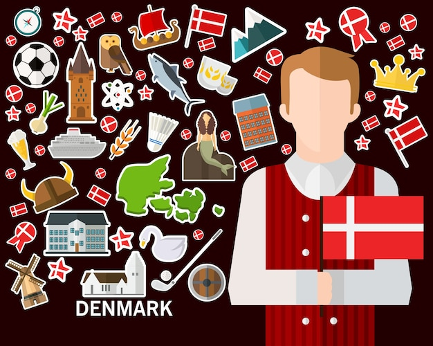 Denemarken concept achtergrond. vlakke pictogrammen