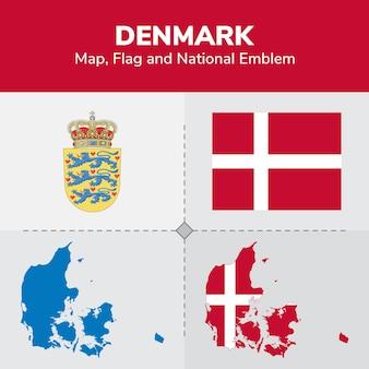 Denemarken kaart, vlag en nationale embleem
