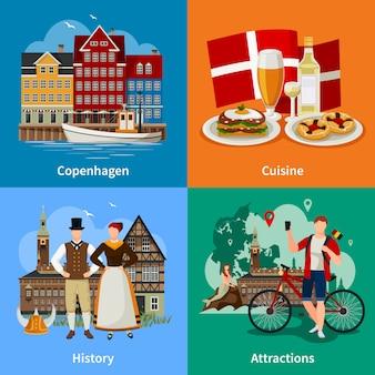 Denemarken vlakke stijl concept