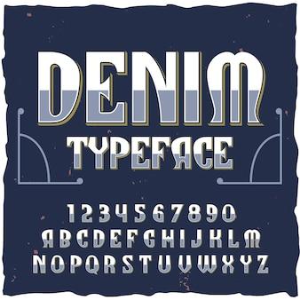 Denim alfabet met retro-stijltekst