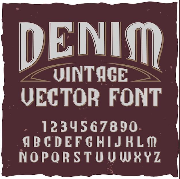 Denim alfabet met vintage stijl lettertype typekit met geïsoleerde cijfers letters