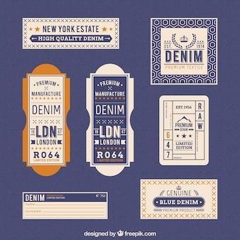 Denim labels in retro stijl
