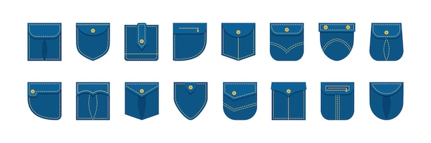 Denim patch pocket shirt set verschillende vorm, jeans kleding. kledingstuk illustratie