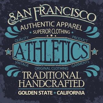 Denim typografie, t-shirt graphics, vintage tee-printontwerp voor sportkleding