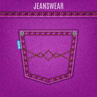 Denimachtergrond van purpere jeanstextuur met zak