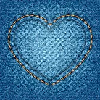 Denimtextuur met steken in de vorm van een hart