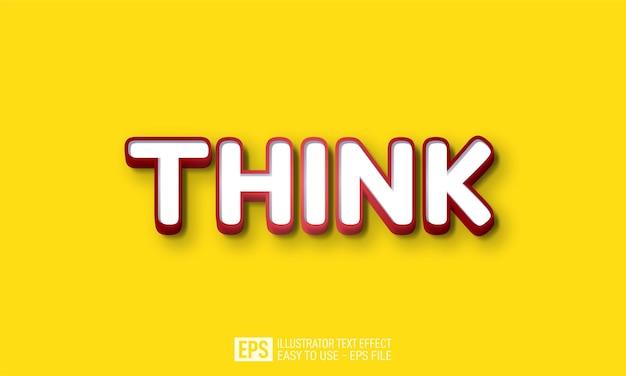 Denk aan 3d-tekst bewerkbare stijleffectsjabloon