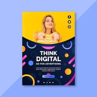 Denk aan een digitale flyer-afdruksjabloon