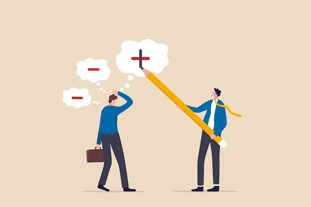Denk aan een positieve mentaliteit, optimistische houding ten opzichte van succes op het werk, mentor om werknemer te motiveren voor positiviteitsconcept, zakenmanmanager die potlood gebruikt om een positief teken te tekenen op negatieve gedachten van werknemers.