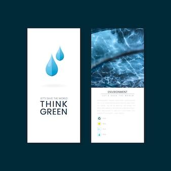 Denk aan groene milieubescherming brochurevector