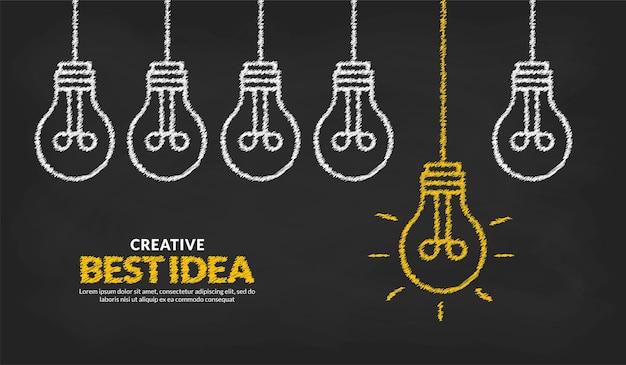 Denk anders en onderscheid je van het concept ideeën met één gloeiende gloeilampachtergrond