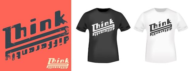 Denk anders - motiverende, inspirerende quote voor t-shirt stempel, tee print, applique of andere drukproducten. vector illustratie.