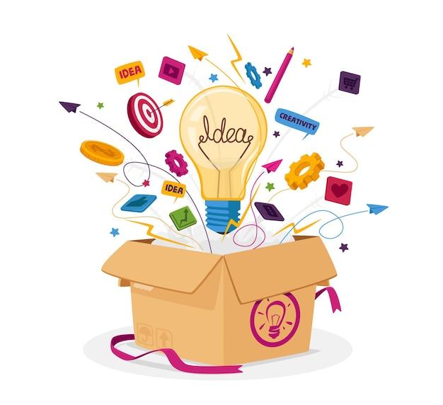 Denk buiten de doos bedrijfsconcept. open kartonnen verpakking met gloeilamp, briefpapierpictogrammen en kantoorbenodigdheden vliegen uit