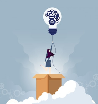 Denk buiten de doos bedrijfsconcept