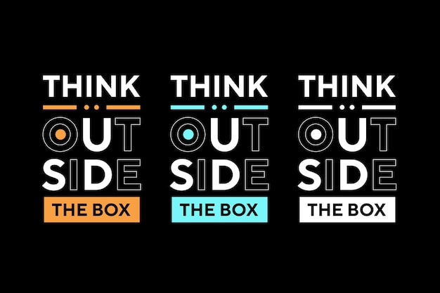 Denk buiten de doos beste teksteffect typografie t-shirtontwerp