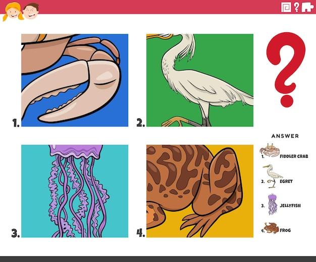 Denk dat cartoon dierlijke karakters educatief spel voor kinderen
