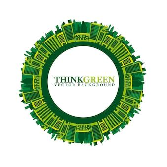 Denk groen met groene gebouwen over witte vector als achtergrond