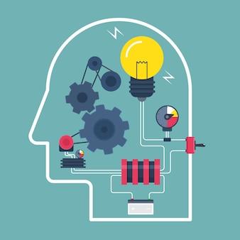 Denk idee. concept van de werking van het menselijk brein. vector illustratie.