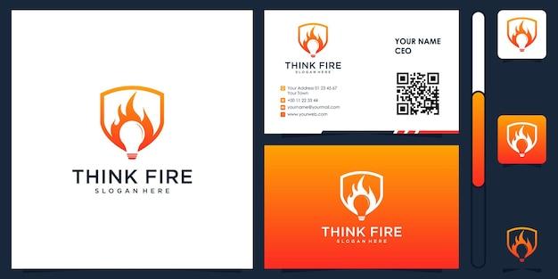 Denk vuur logo met visitekaartje ontwerp vector premium