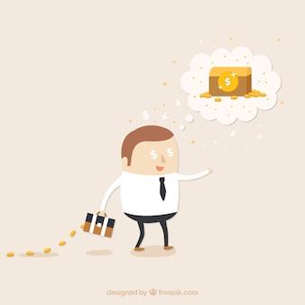 Denken in geld illustratie