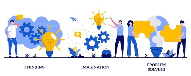Denken, verbeelding, problemen oplossen. set van hersenactiviteit, brainstormen, idee en fantasie