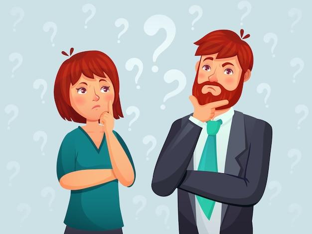 Denkend stel. nadenkende man en vrouw, verwarde vraag en mensen die de illustratie van het antwoordbeeldverhaal vinden