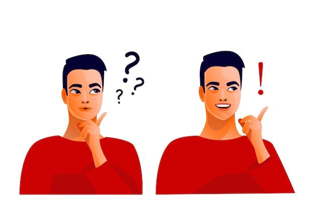 Denkende man. twijfels en ideeën. concept van een geweldig idee. mooi mannelijk gezicht, positieve emoties. aan