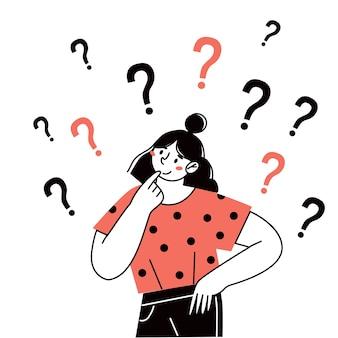 Denkende meisjesvrouw stelt vragen