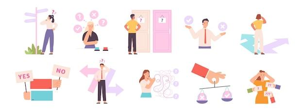 Denkende mensen kiezen een pad of optie, maken een beslissingsconcept. verwarringspersoon die knoop, weg of deur kiest. zakelijke dilemma vector set. tekens in twijfel zoeken naar oplossing