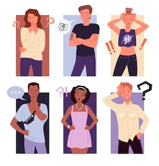 Denkende mensen verwarren set. jonge doordachte mannelijke vrouwelijke stripfiguur permanent met vraag uitroeptekens, verward gebaar van jongen en meisje