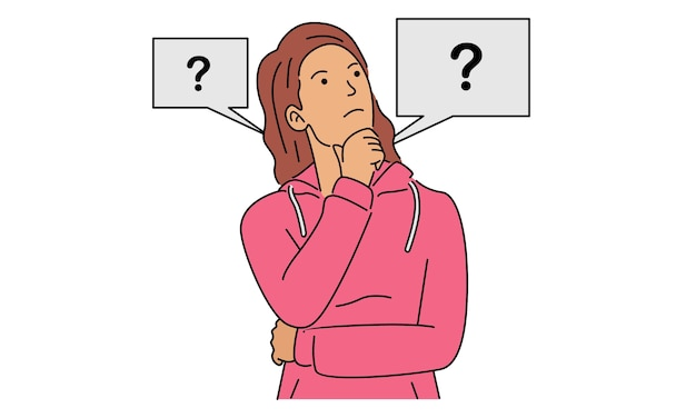 Denkende vrouw op zoek