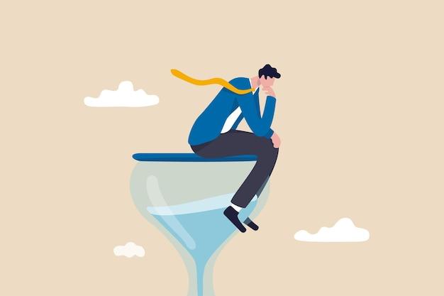 Denker zakenman denken over zakelijke oplossing.