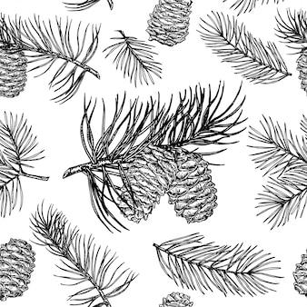 Denneappels naadloos patroon. kerstcadeaupapier.