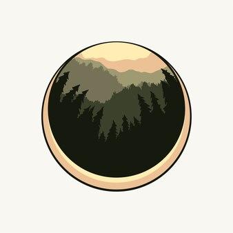 Dennen silhouet van bos badge