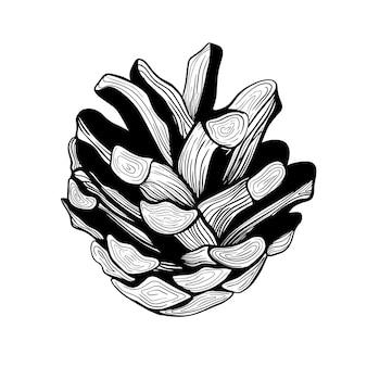 Dennenappel. kerstboomdecoratie. een dennenappel. hand getekend botanische vectorillustratie. ontwerpelementen voor uitnodigingen, vakantiedecor, wenskaarten, prints, afdrukken.kerstversieringen