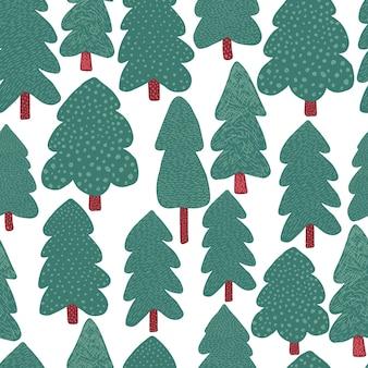 Dennenbomen naadloos patroon. doodle bos landschap achtergrond. eenvoudige stijl. ontwerp voor stof, textielprint, inpakpapier, kindertextiel. vector illustratie