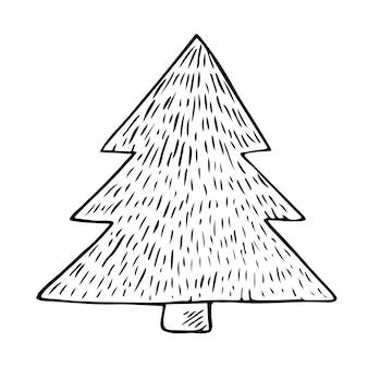 Dennenboom vector clipart. handgetekende schattig doodle spar, kerstmis illustratie.