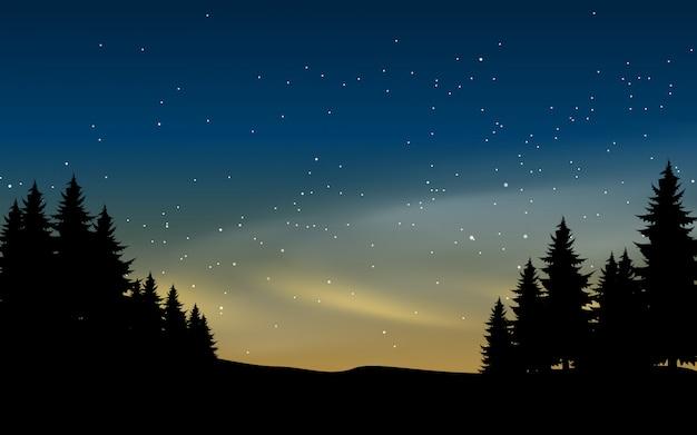 Dennenboomsilhouet en sterrige nacht