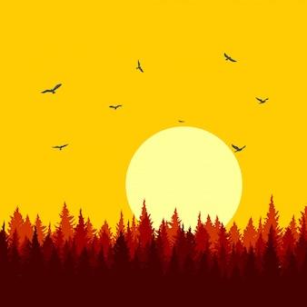 Dennenbossen mooie illustratie