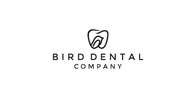 Dental bird logo tooth abstract vector ontwerpsjabloon lineart